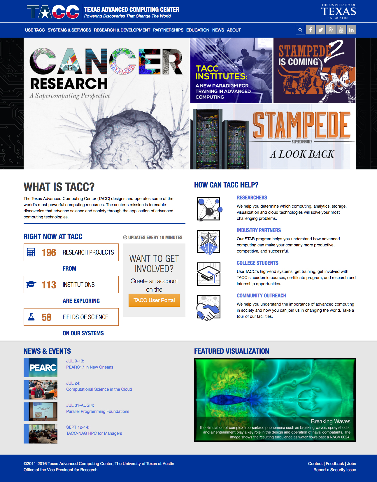 Texas Advanced Computing Center Website Screenshot